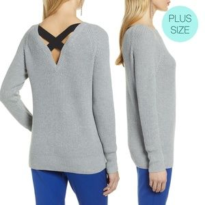 Halogen Grey Cross Back Knit Pullover Sweater